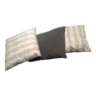 Blue-Grey Square Throw Pillows - Set of 3