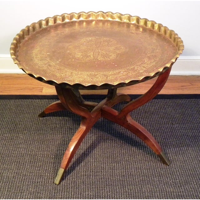 Mid Century Modern Moroccan Folding Tea Table - Image 4 of 8