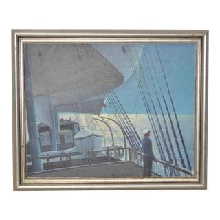 Circa 1950 Mid-Century Maritime Painting