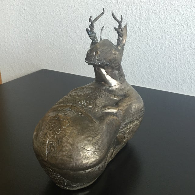 Antique Silver Cambodian Deer Box - Image 3 of 11
