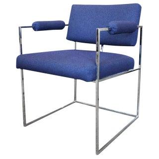 Milo Baughman for Thayer Coggin Blue Armchair