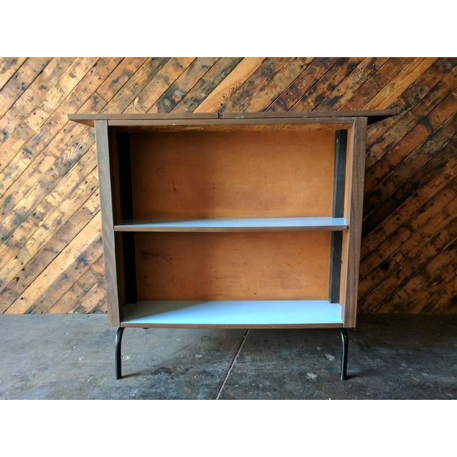 Image of Mid Century Free Standing Bar with 2 Vinyl Stools
