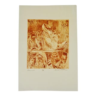 """Samuel G. Cahan Etching """"Atonement"""" Signed Artist Proof"""