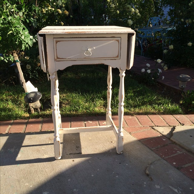 Image of Shabby Chic Traditional White Side Table