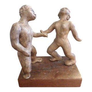 Dancing Man & Woman Composite Stone Sculpture