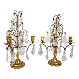 French Rock Crystal Gilt Bronze t Candelabras - A Pair