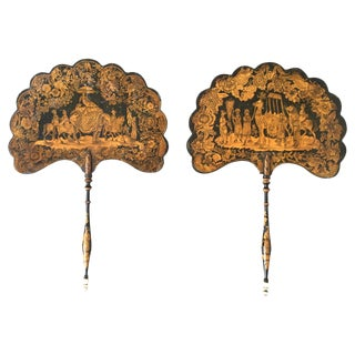 19th C. English Pen-Work Decorated Fans - A Pair