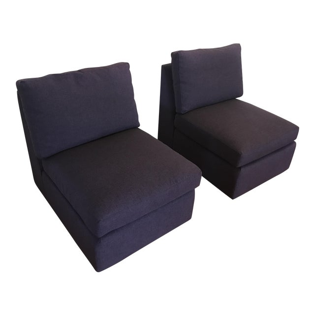 ABC Home Cobble Hill Purple Slipper Chairs- A Pair - Image 1 of 5