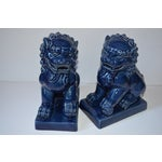 Image of Vintage Blue Ceramic Foo Dog Statues - A Pair