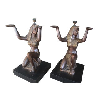 Egyptian Pedestal  Side or Coffee Tables - A Pair