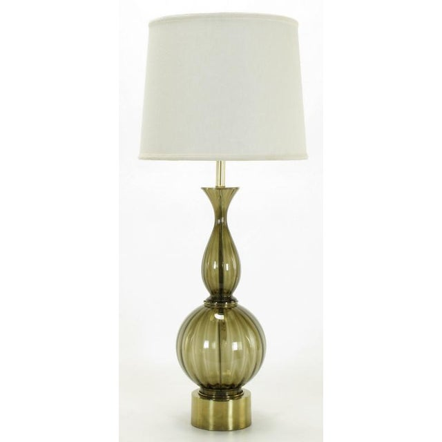 Fluted & Smoked Glass Sinuous Table Lamp - Image 3 of 7