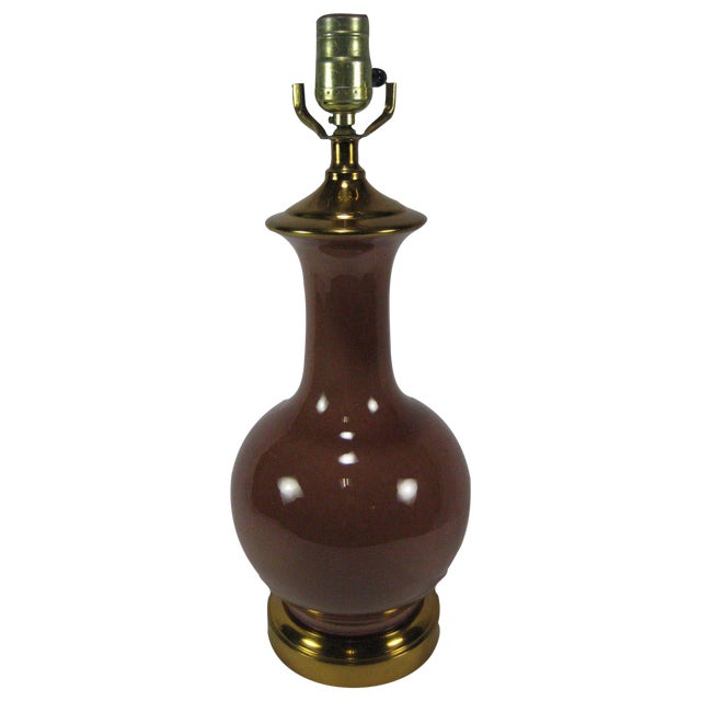 Vintage Table Lamp with a Reddish Brown Glaze - Image 1 of 7