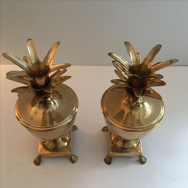 Vintage Brass Pineapple Urn Containers - A Pair - Image 5 of 6