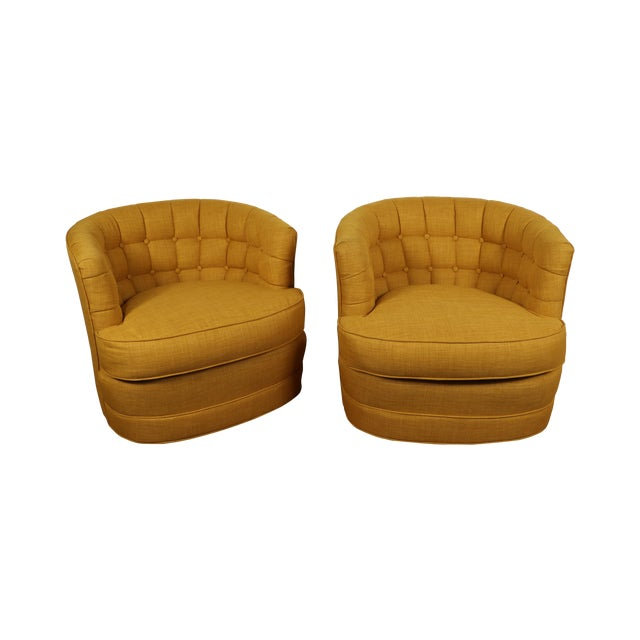 Tufted Swivel Chairs - Pair - Image 1 of 5