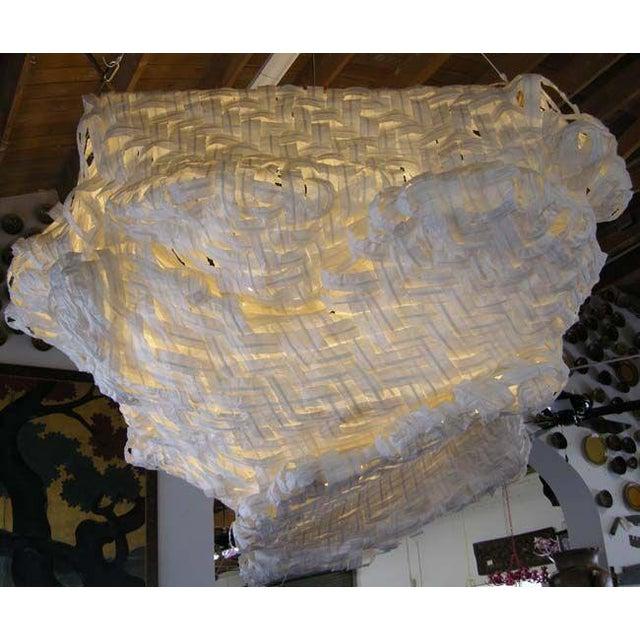 Gigantic Freeform Handwoven Paper Ceiling Light - Image 4 of 7