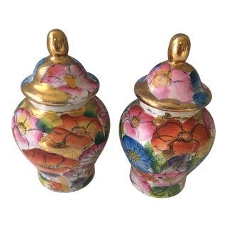Petite Floral Ginger Jars - A Pair