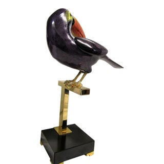 Mangani for Oggetti Hand-Painted Stylized Toucan Sculpture on Brass Base