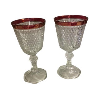 Vintage Christmas Cranberry Rimmed Vases - Pair