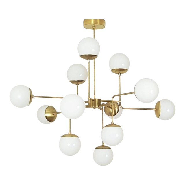 Classic Italian Modern Brass Chandelier With Glass Globes, Model 420 - Image 1 of 7