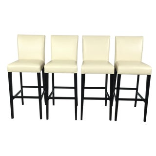 Cream Leather Bar Stools Set by Crate & Barrel - 4