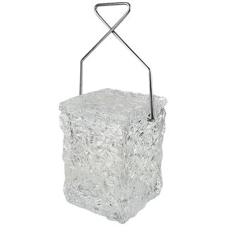 "Playful ""Block of Ice"" Lucite Ice Bucket with Chrome Tong Handle by Wilardy"