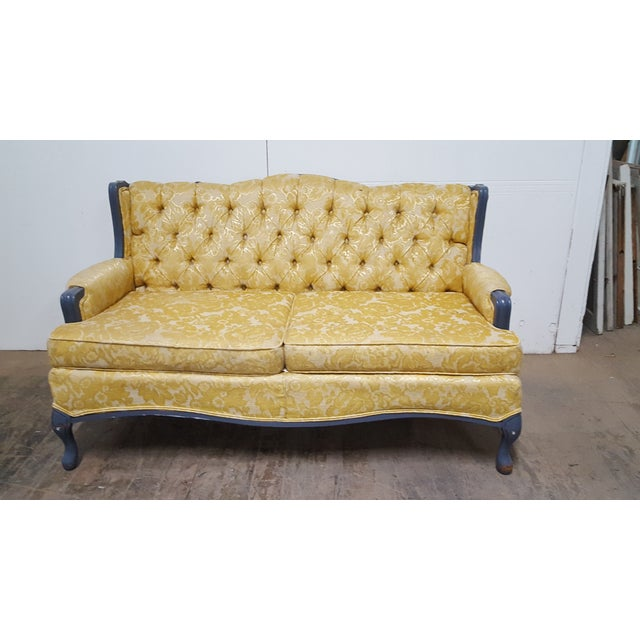 Vintage French Provincial Yellow Brocade Loveseat - Image 3 of 6