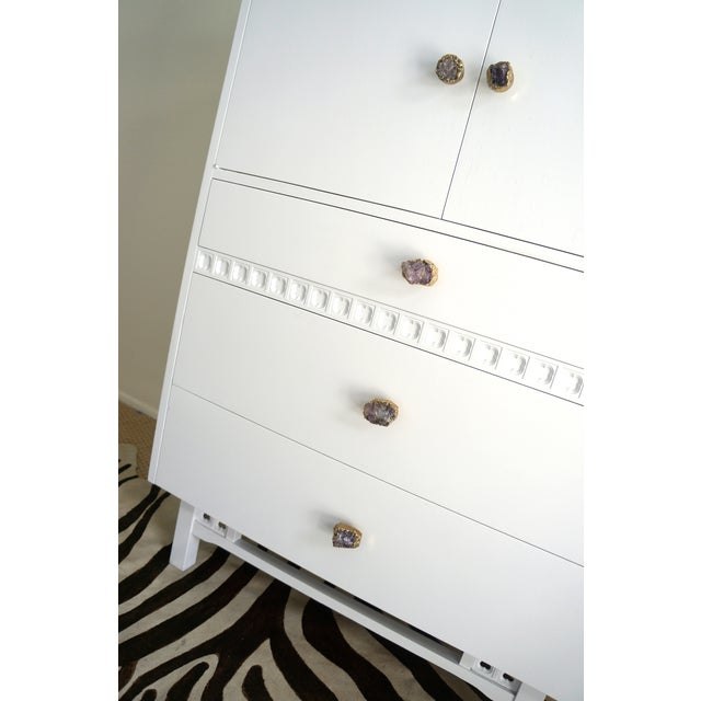Mid-Century White Crystal Stone Pull Cabinet - Image 6 of 11
