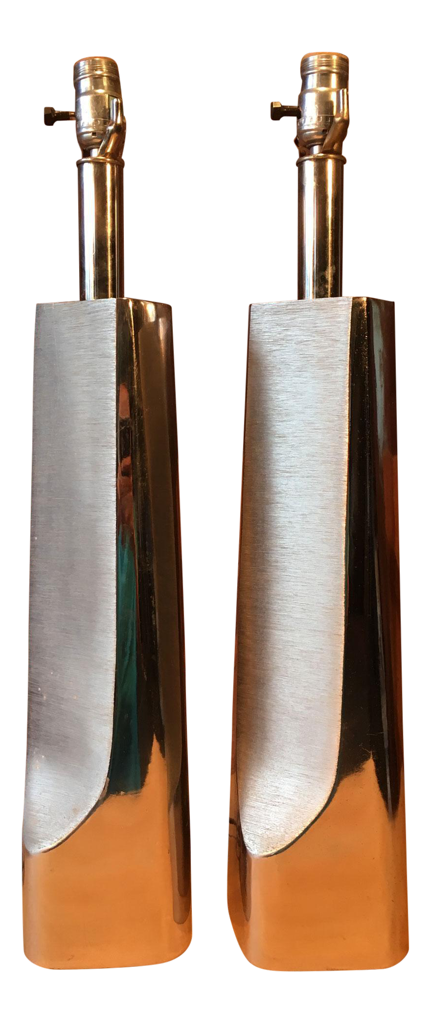 midcentury chrome u0026 steel laurel lamps a pair