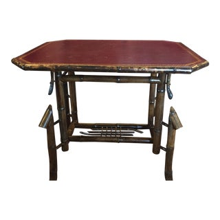 Antique Bamboo & Leather Table