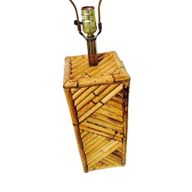 Mid Century Bamboo Geometric Pedestal Lamp - Image 5 of 6