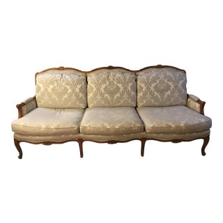 Baker Serpentine Sofa in Pecan and Ivory Damask