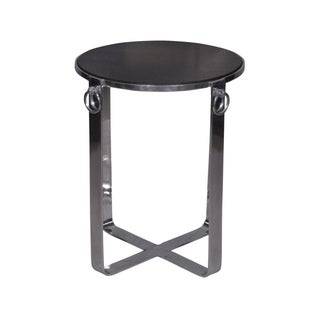 Round Glass Top & Metal Side End Table