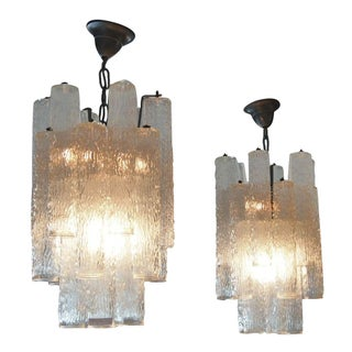 Italian Mid-Century Glass Chandeliers - A Pair
