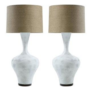 Tall Textured Ceramic Sculptural Lamps, a Pair