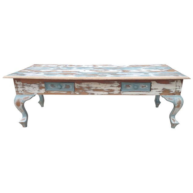 Image of Distressed Coffee Table in Blue and White