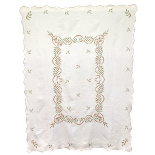 Vintage Brown & Green Embroidered Tablecloth