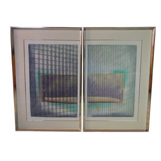 Large Modernist Abstract Geometric Prints - Pair