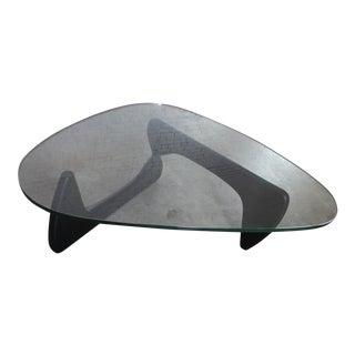 Vintage Isamu Noguchi Glass Top Black Coffee Table