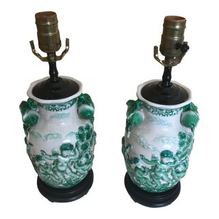 Pair Of Rare White and Green Crackle Glazed Cherub Lamps