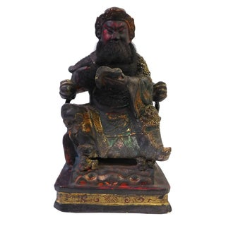 Chinese Lacquered Wood Temple Deity Figure