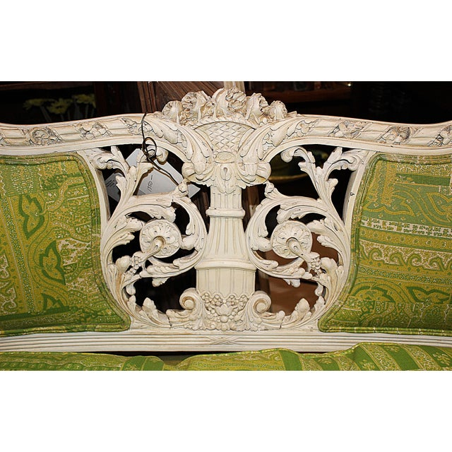 19th Century Green French Carved Loveseat - Image 8 of 8