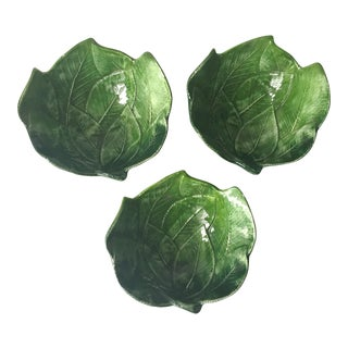 Vietri 'Foglia' Italian Faience Leaf Dishes - Set of 3
