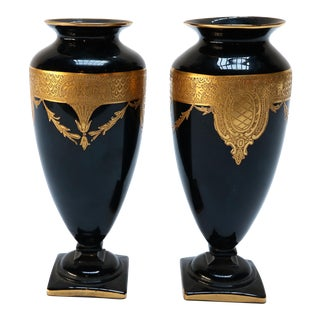 Pair of 1930s Moser Style Black Glass and Gold Vases