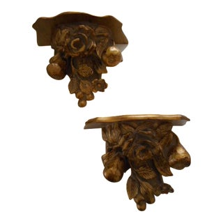 Floral and Fruit Wall Brackets - A Pair
