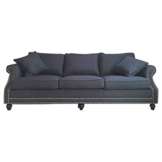 Navy Blue Linen Upholstered Sofa