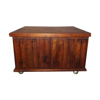 Mid-Century Modern Square Wood Side Cabinet Table