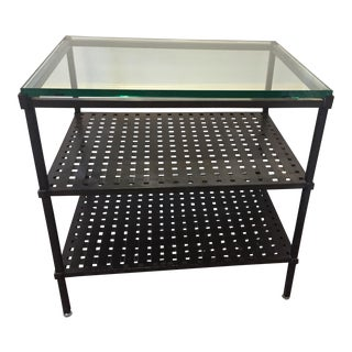 Glass & Wrought Iron Side Table