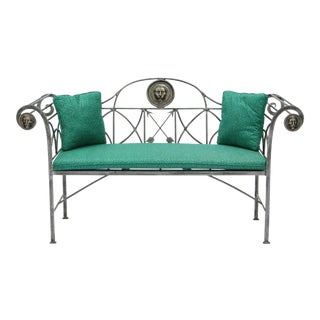 Maitland Smith Regency Style Steel & Bronze Bench