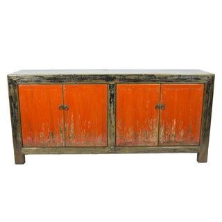 Red & Black Rustic 4-Door Sideboard