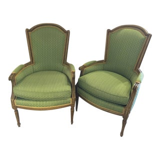 Maison Jansen Stamped Louis XVI Style Bergere Armchairs- A Pair